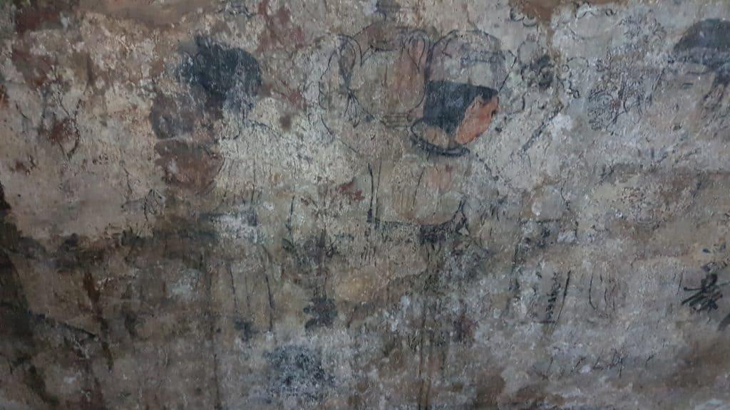 Wandmalerei in den Tempelruinen von Ayutthaya