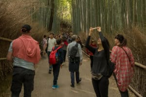 viele bunte Touris im Arashiyama Bambuswald