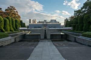 die ewig brennende World Peace Flame im Friedenspark Hiroshima