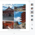für Collage-Seiten stehen bis zu fünf Layouts zur Verfügung