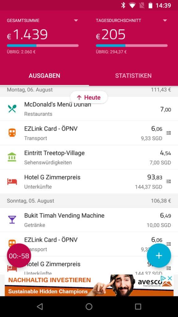 übersicht der ausgaben der appsolut reisetauglich travelspend finanzen app