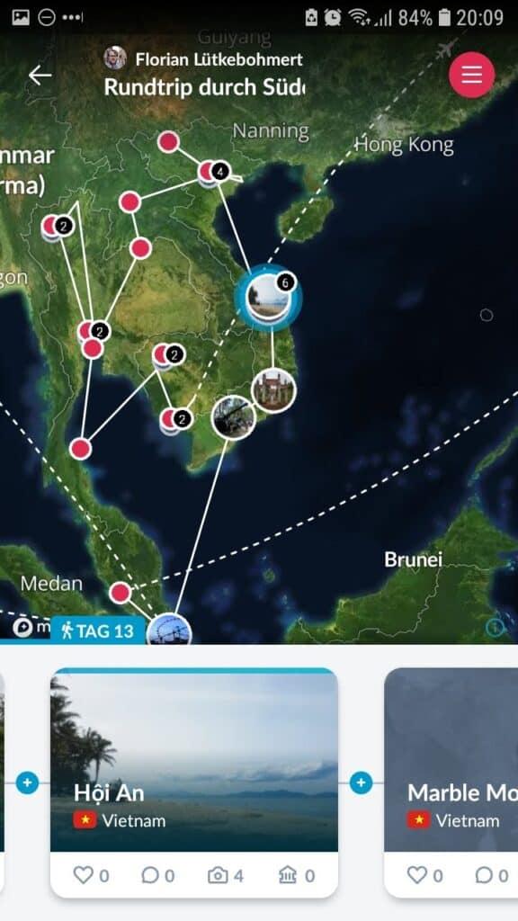 Reisebildschirm der PolarSteps App mit Tracking der Reise