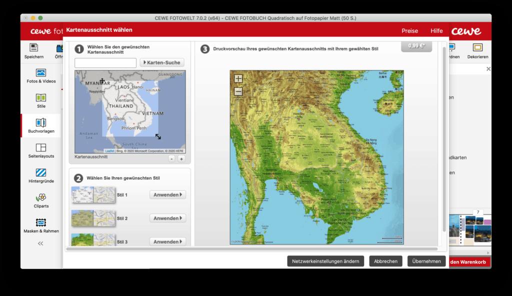 Kartenausschnitte bieten eine tolle Möglichkeit das CEWE Fotobuch im Reisekontext zu gestalten