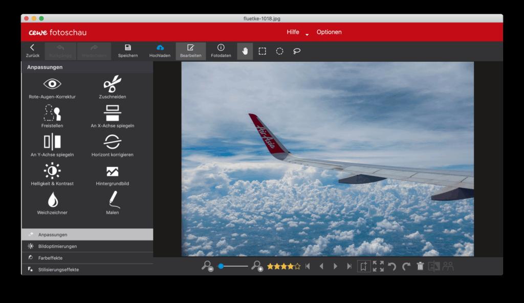 CEWE Fotowelt bietet einige einfache Bearbeitungsoptionen, hier die Hauptansicht der Bildbearbeitung