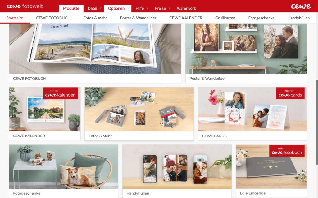 CEWE Produktvielfalt im Fotobuch Designer Test
