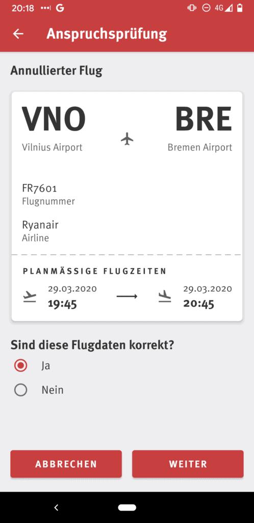 Fluginformationen in der Flugärger App