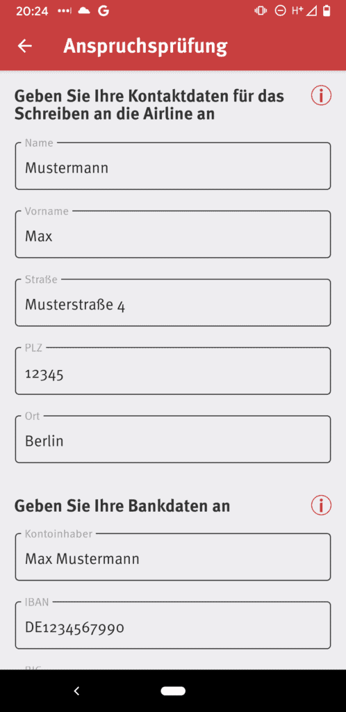Screenshot Addressdaten Formular
