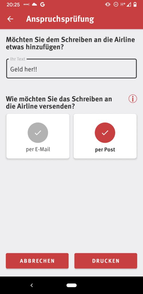 Abfragescreen zum Versand des generierten Anschreibenin der Flugärger App