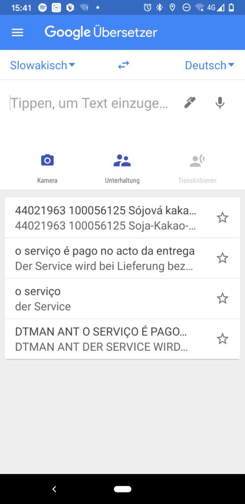 Screenshot des Google Übersetzer Hauptbildschirms