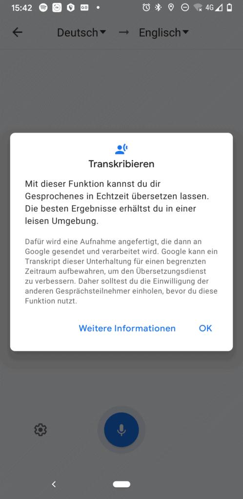 leider läuft der Google Übersetzer noch nicht komplett offline, so gehen die Daten über googles server
