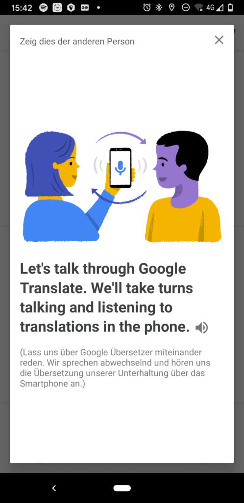 Turn-by-turn translation, in Dialogen kann Google nahezu live zwischen den Gesprächspartnern übersetzen
